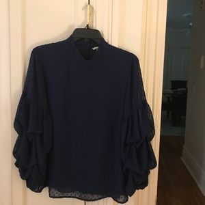 H&M navy blue blouse with ruffled sleeve